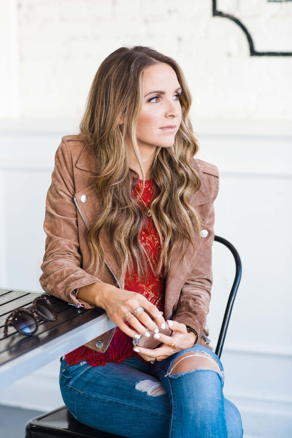 Merrick's Art Suede Jacket and Lace Top