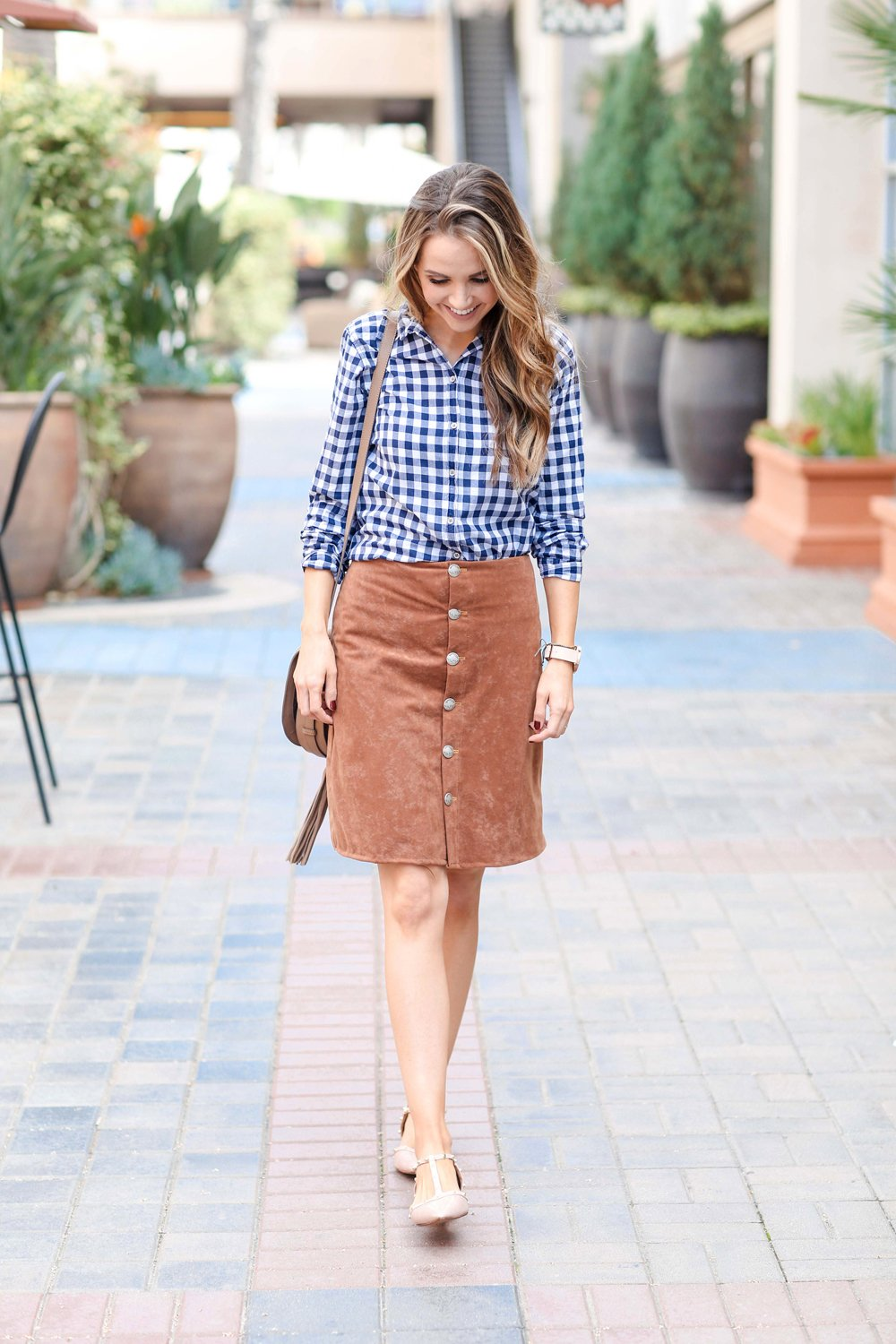 Merrick's Art Suede Skirt and Gingham Top