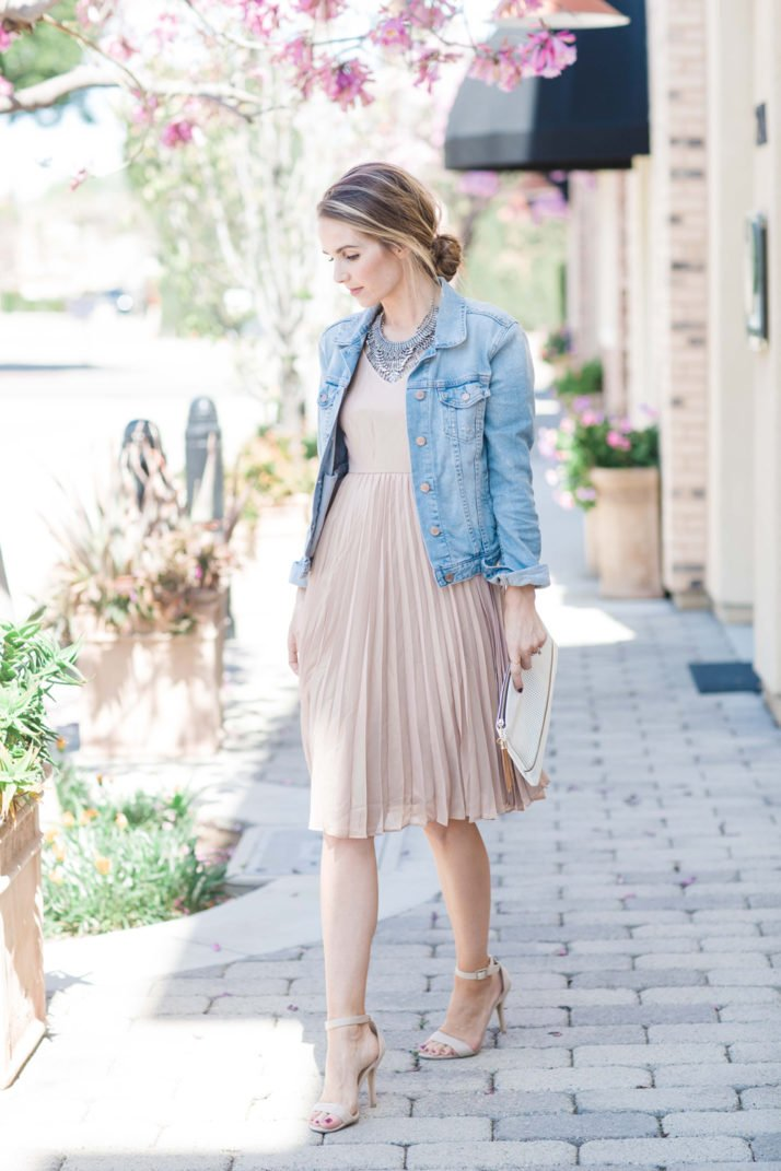 blush pleated skirt with denim jacket