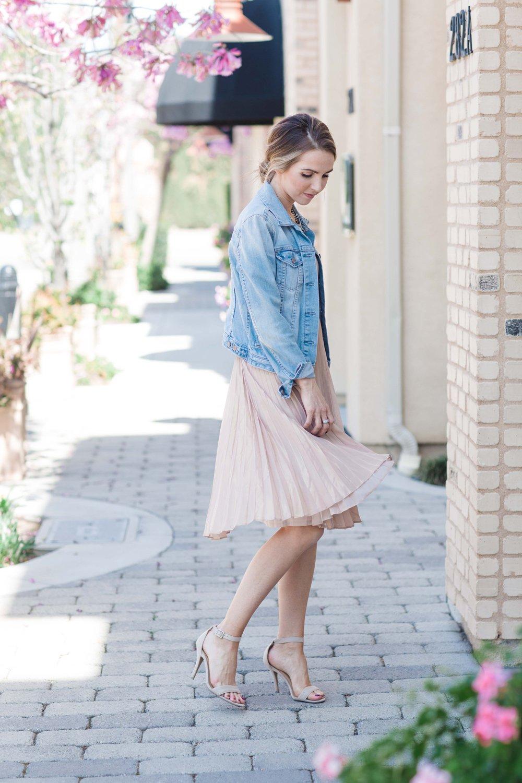 Merrick's Art Pleated Blush Dress