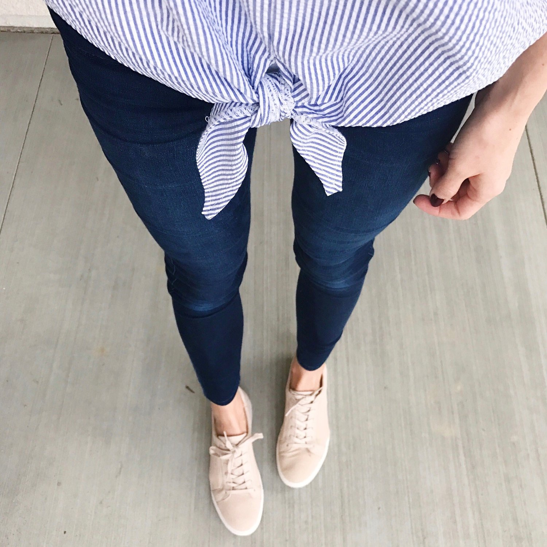 Merrick's Art Striped Tee and Blush Shoes
