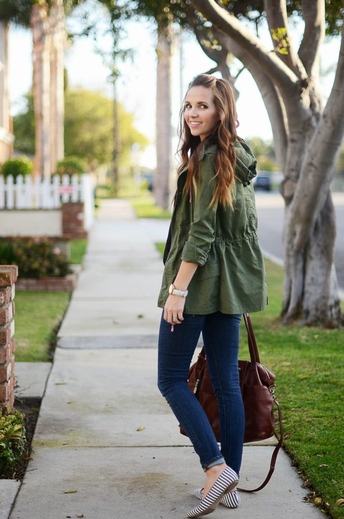 Olive Green Jacket, Striped Flats