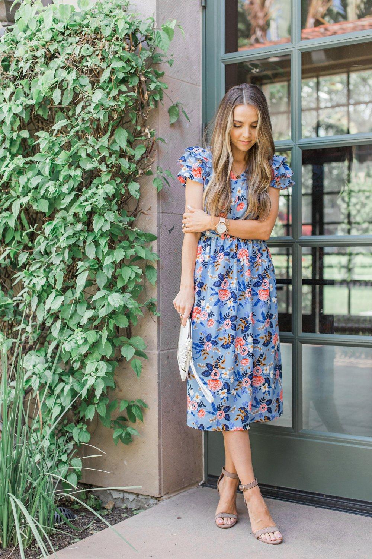 Merrick's Art | Blue Floral Midi Dress