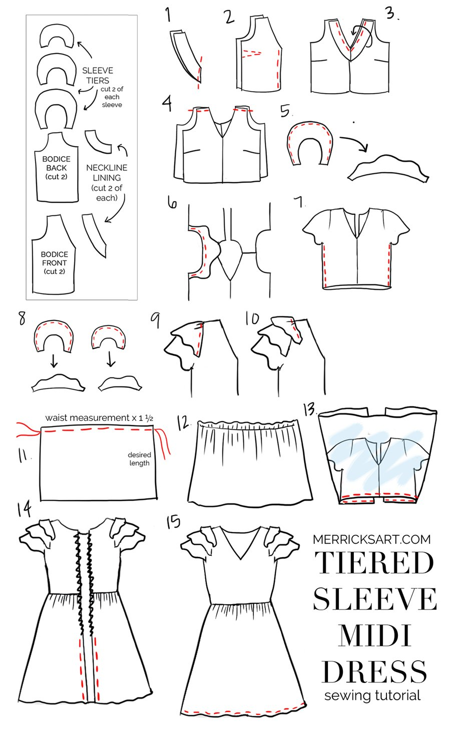 Merrick's Art | DIY Tiered Sleeve Midi Dress Tutorial