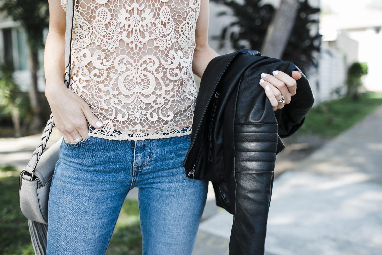 Merrick's Art Lace Top, Levi Jeans, Blank NYC Jacket