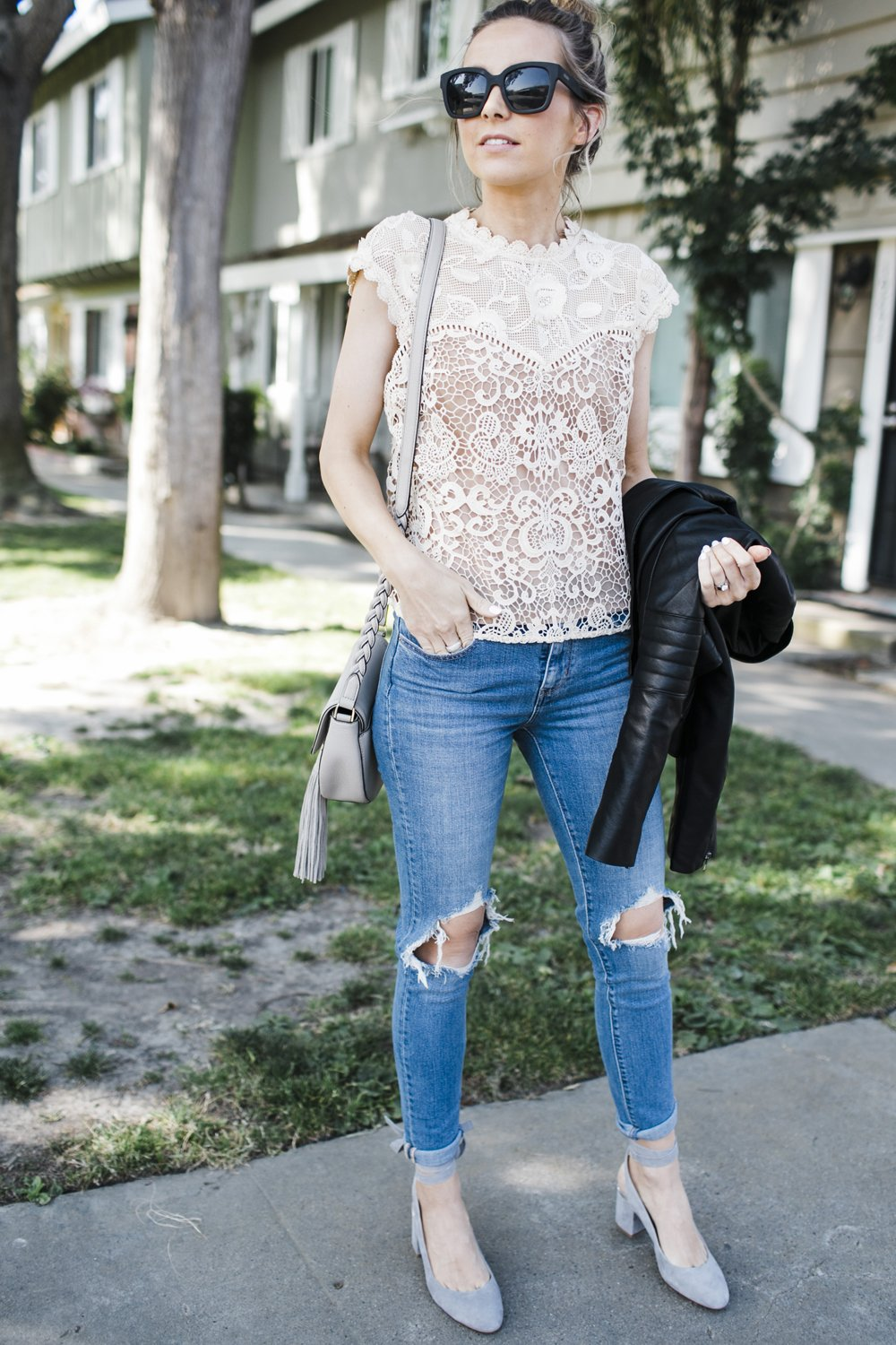 Merrick's Art Levi Denim and Lace Top