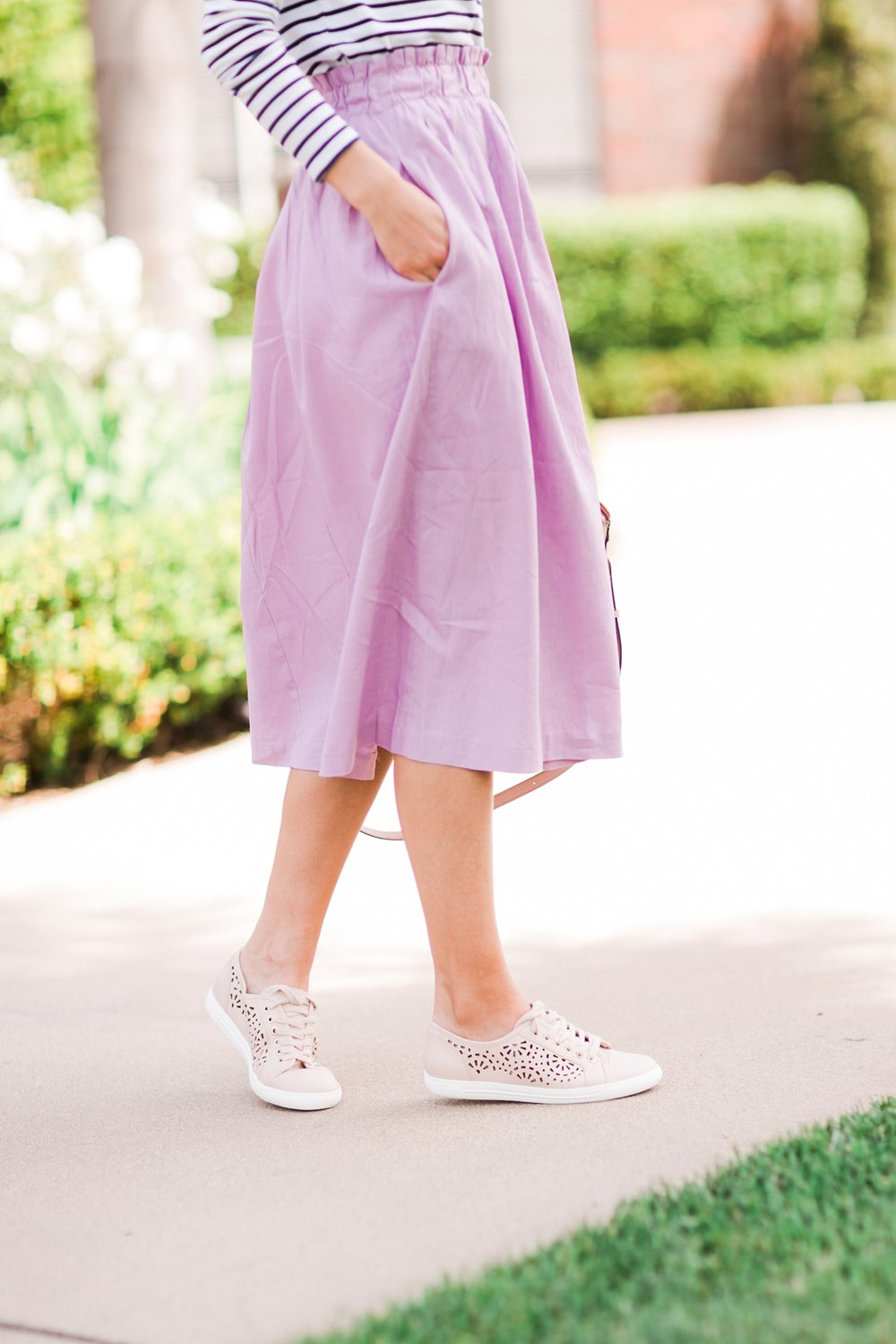 Merrick's Art Lilac Skirt and Blush Sneakers