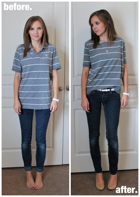 Polo Shirt Refashion - Before and After