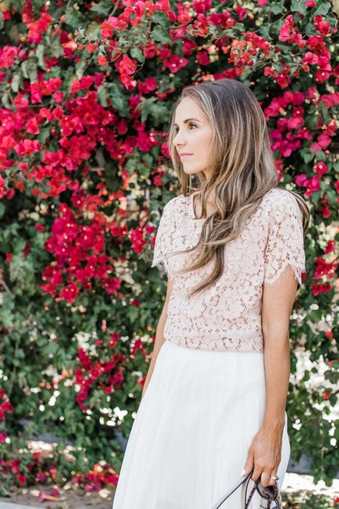 Merrick's Art Blush Lace and White Pleats