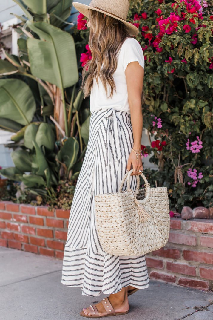 white t-shirt with a maxi skirt and sandals