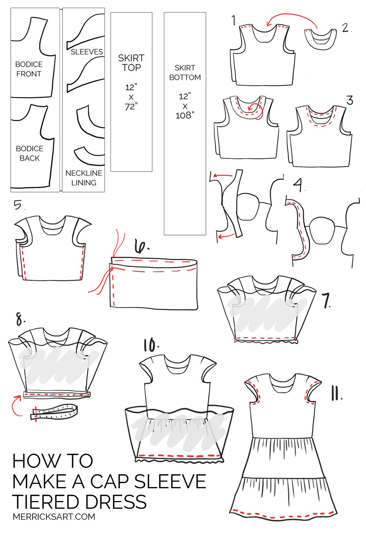 Merrick's Art Tiered Cap Sleeve Dress
