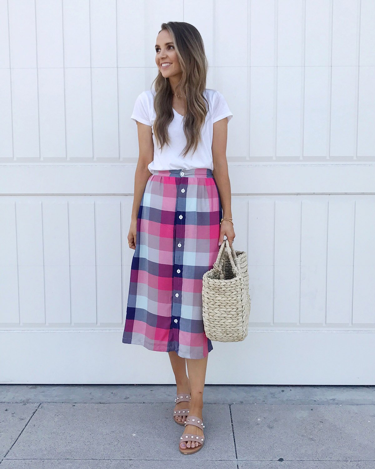 plaid skirt with white tee