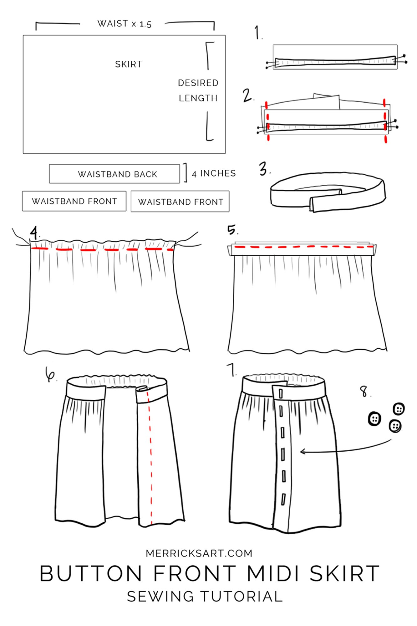How to make a midi button down skirt