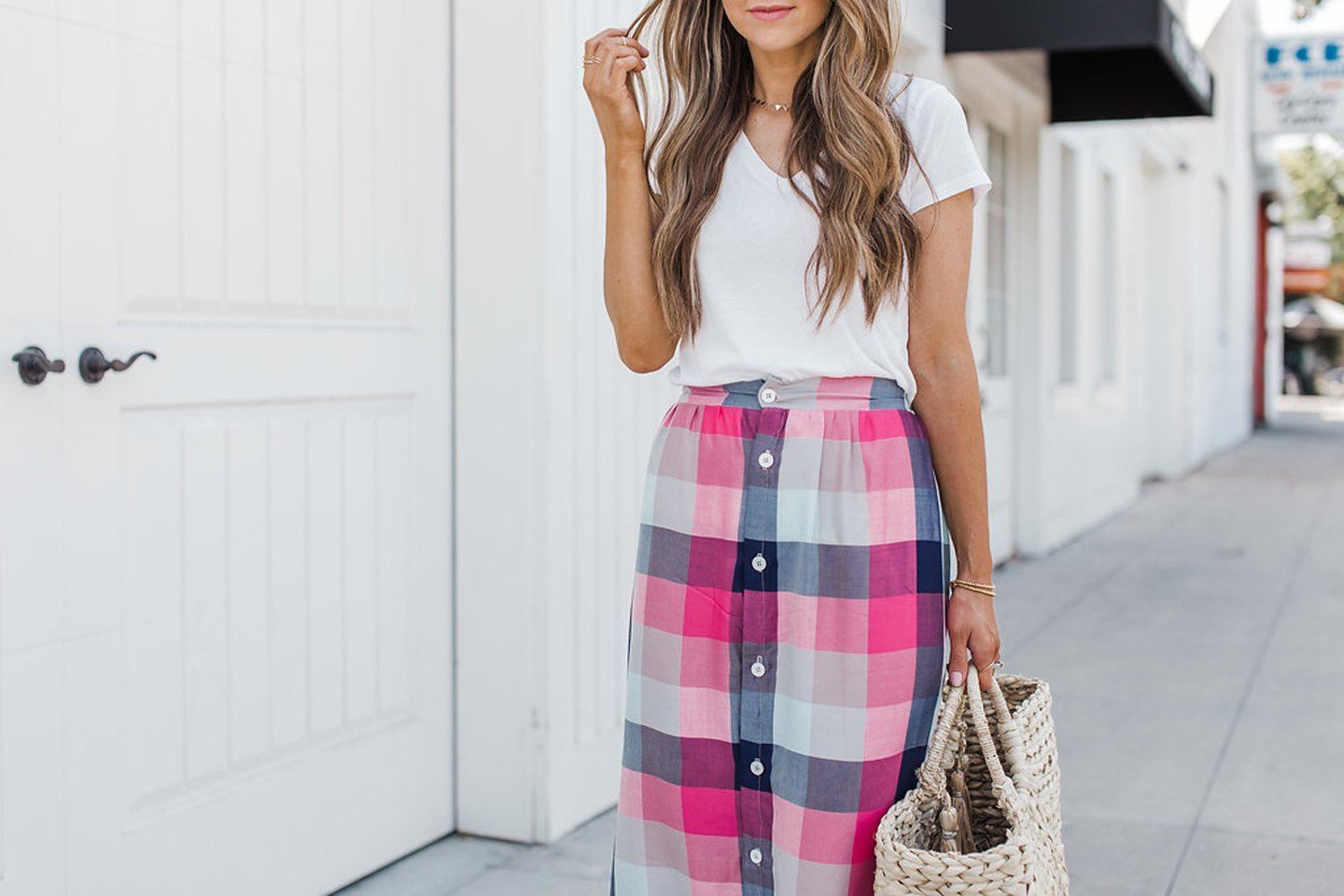 Merrick's Art Button Front Plaid Skirt