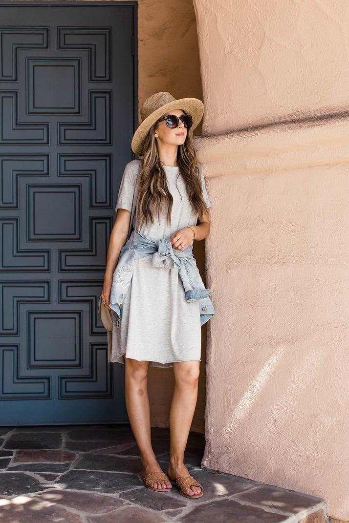 Merrick's Art Gray Rolled Sleeve Dress