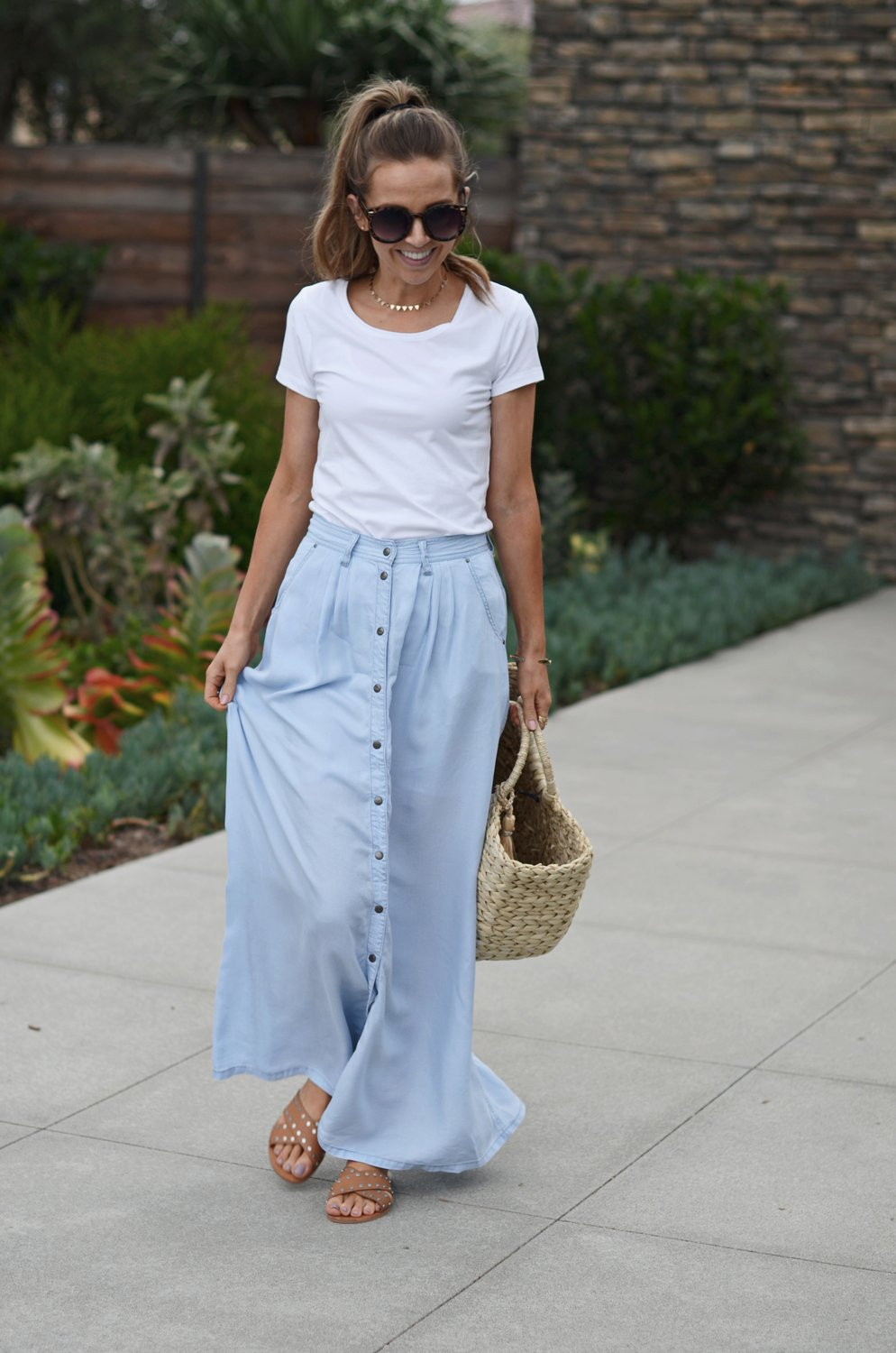 Merrick's Art Light blue chambray maxi skirt with buttons