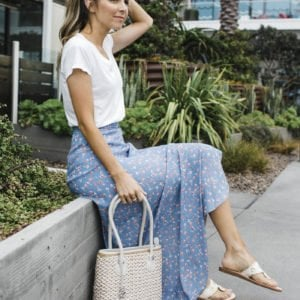 white tee and blue floral maxi skirt