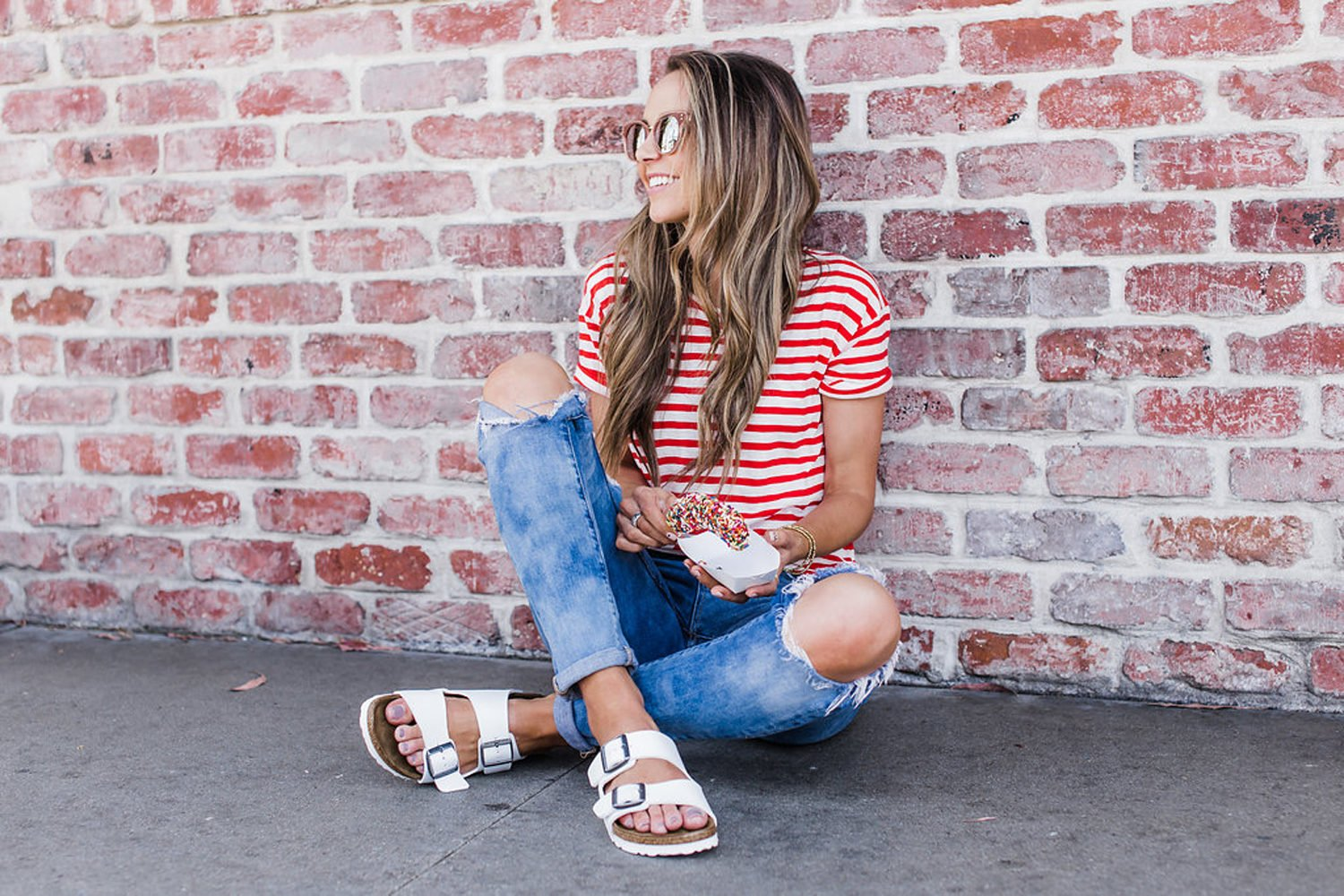 Merrick's Art | Red Striped Top and White Sandals