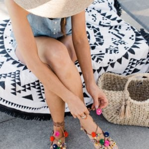 merricksart.com | lace up pom pom sandals