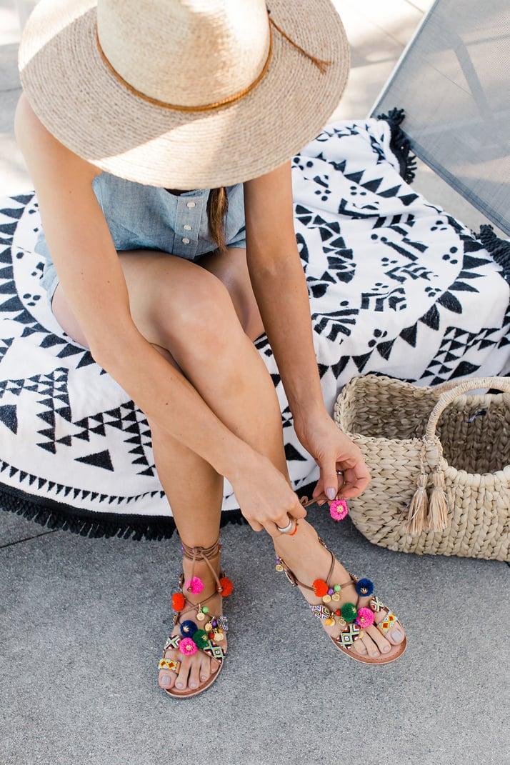 merricksart.com | lace up pom pom sandals