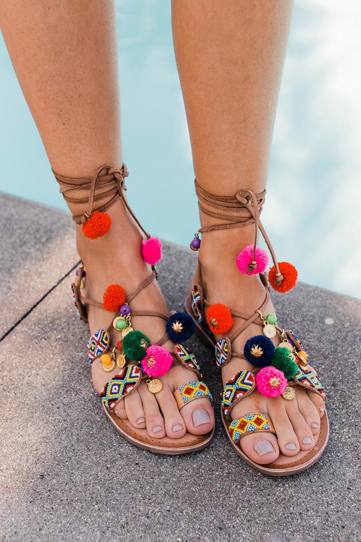 merricksart.com | pom pom sandals