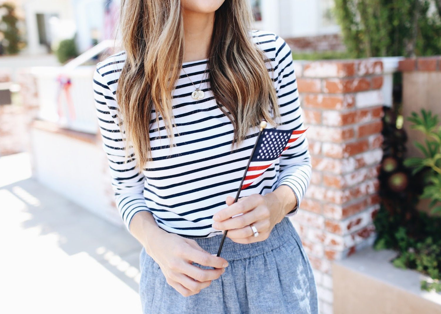 Striped Tee and Chambray Skirt