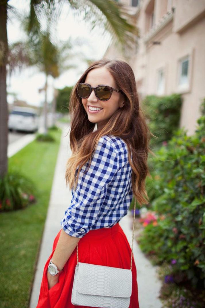 Merrick's Art | Blue Gingham Shirt and Red Dress