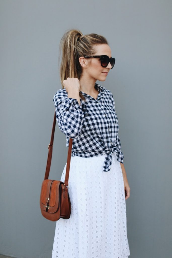 Gingham Top and White Skirt