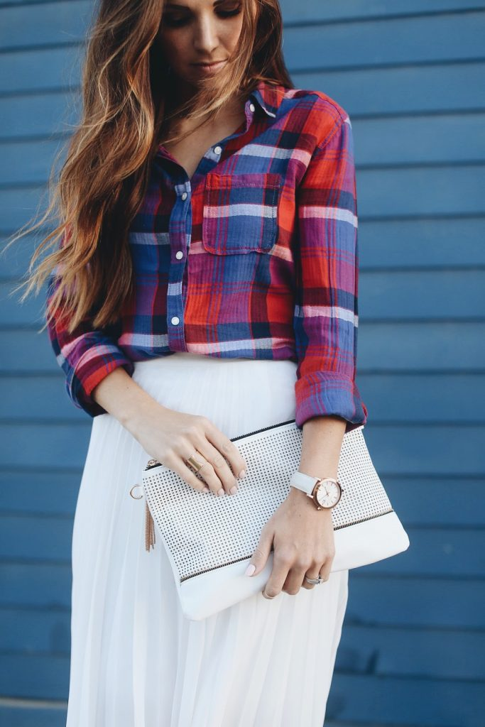 Merrick's Art | Plaid Shirt and White Skirt
