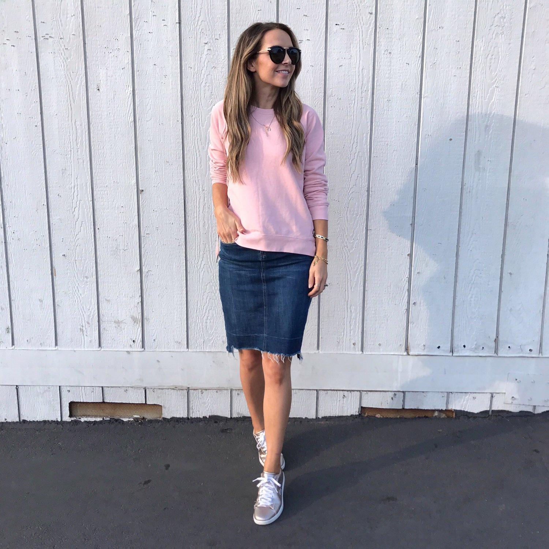 merricksart.com | pink lace-up sweater and denim skirt