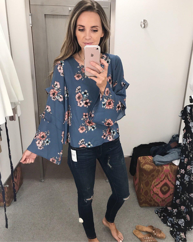 merricksart.com | floral bell sleeve top