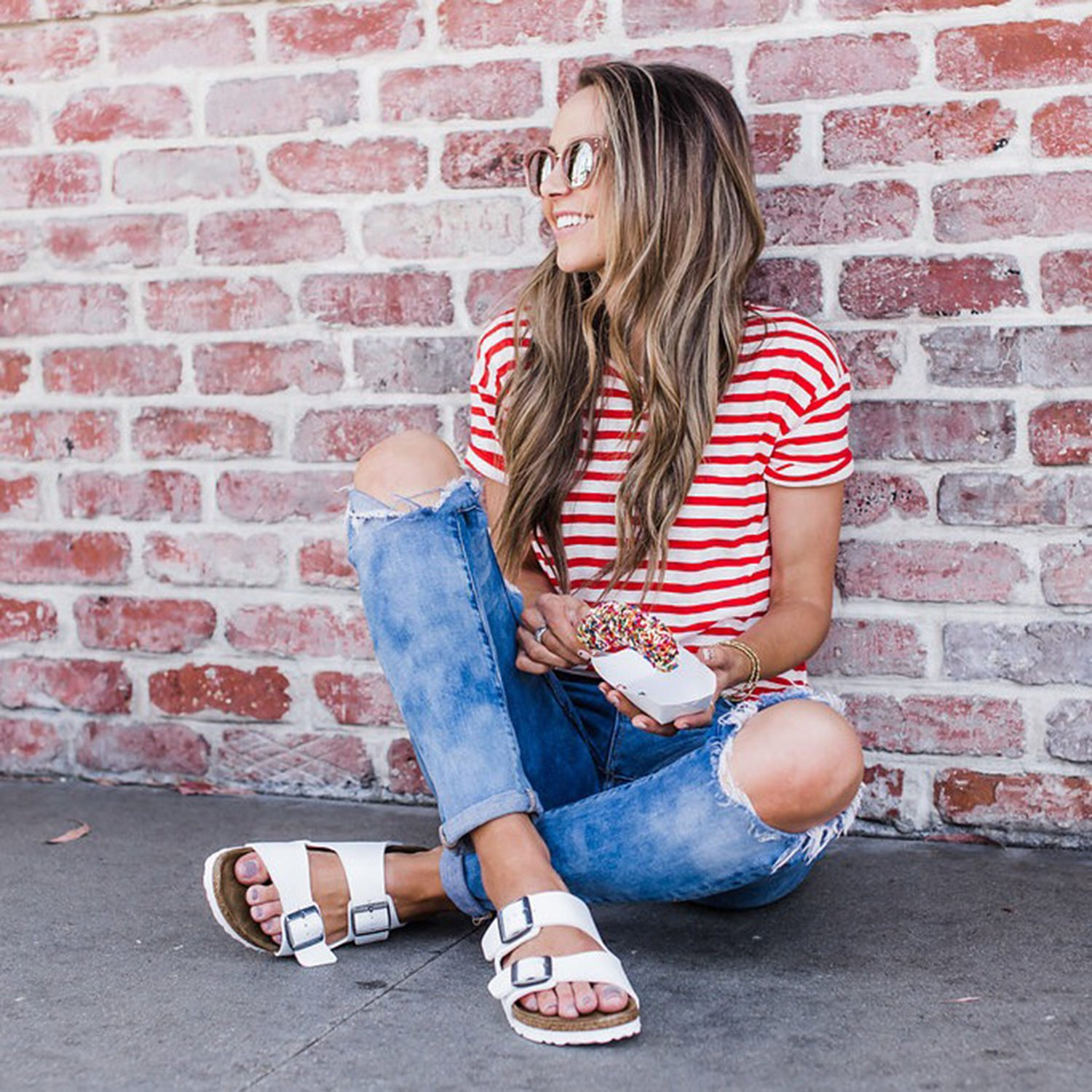 merricksart.com | red & white striped top and ripped skinny jeans