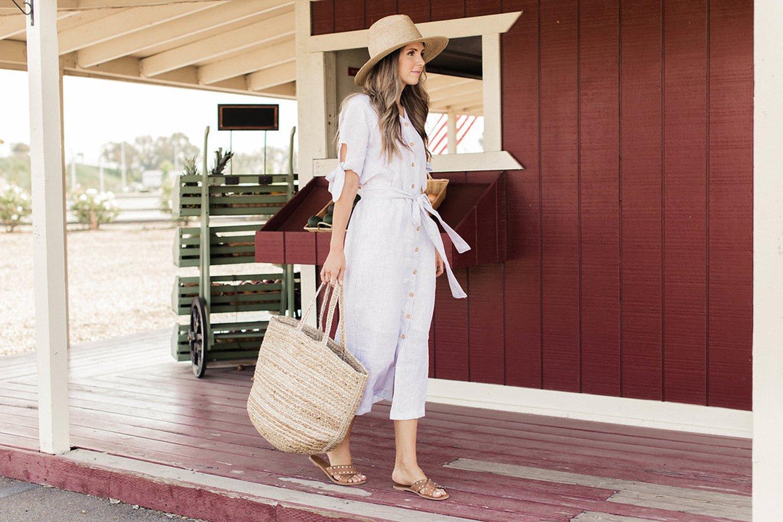 Button Down Linen Shirt Dress | merricksart.com
