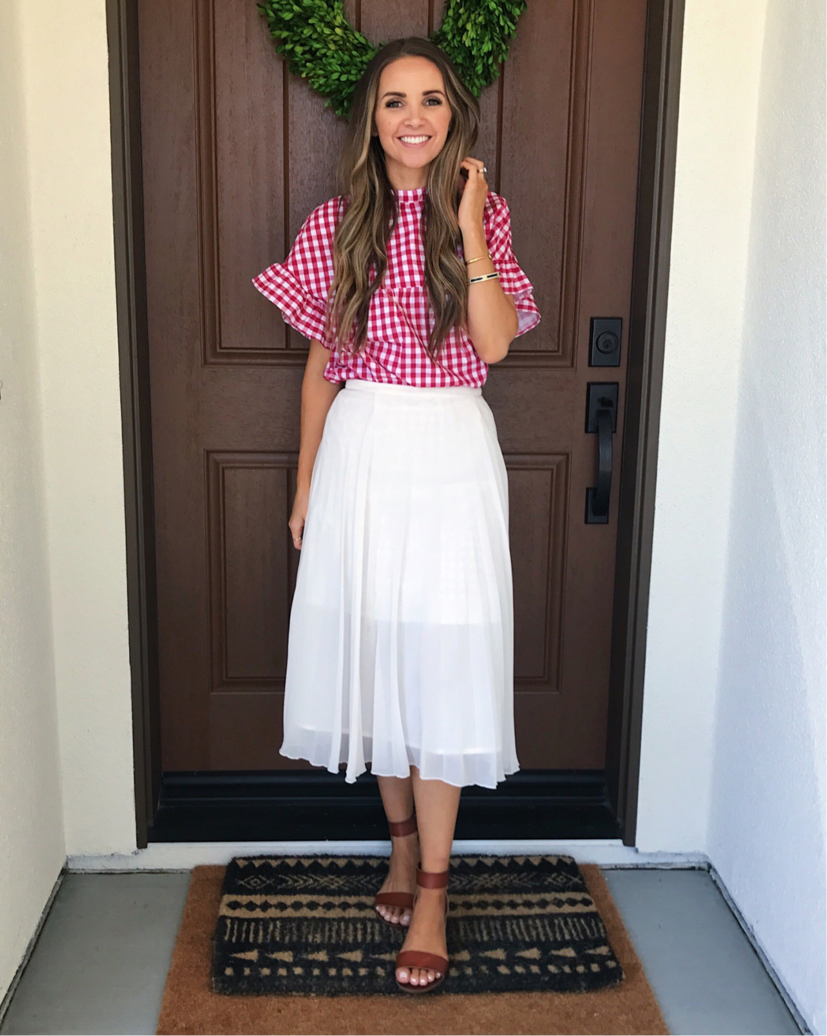 merricksart.com | Red Gingham Top and White Midi Skirt