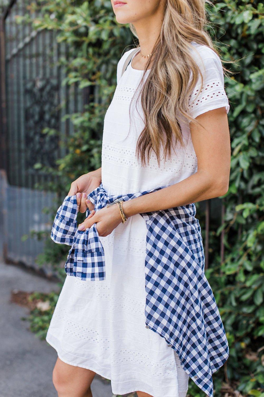 merricksart.com | white dress and blue gingham shirt