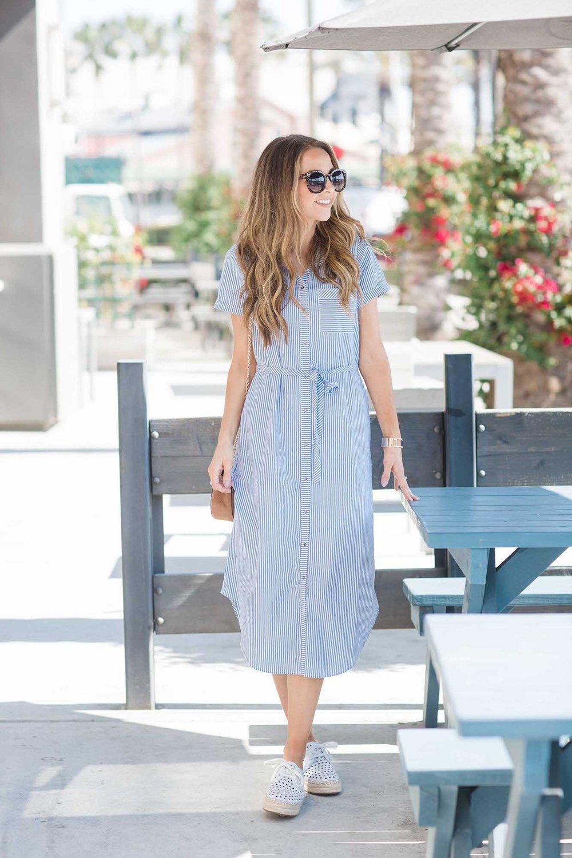 merricksart.com | blue and white striped shirt dress