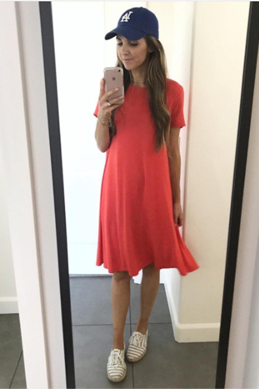 merricksart.com | red swing dress