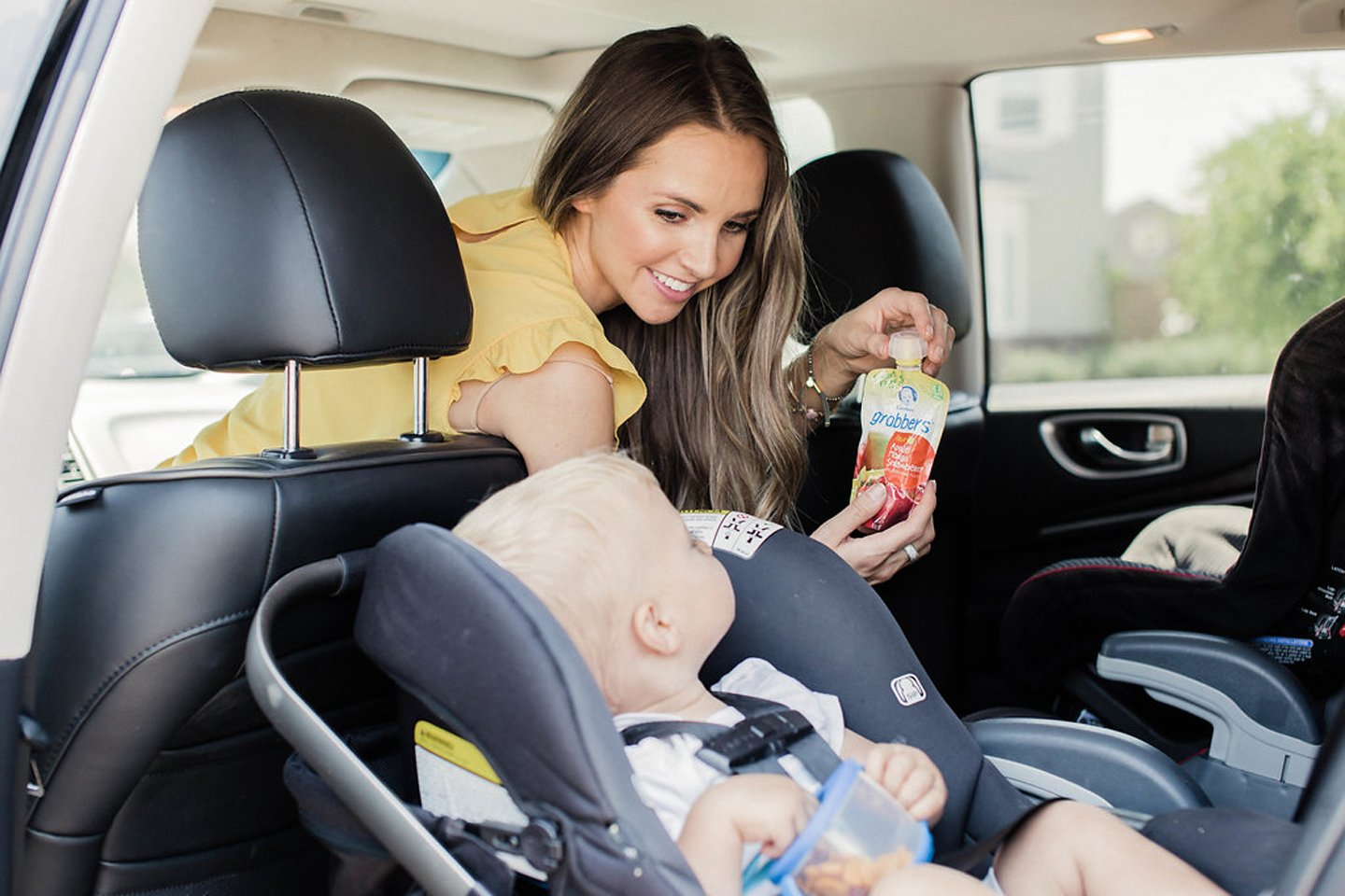 Merricksart.com | Gerber Grabbers with the Smart Flow spout are the best road trip snacks