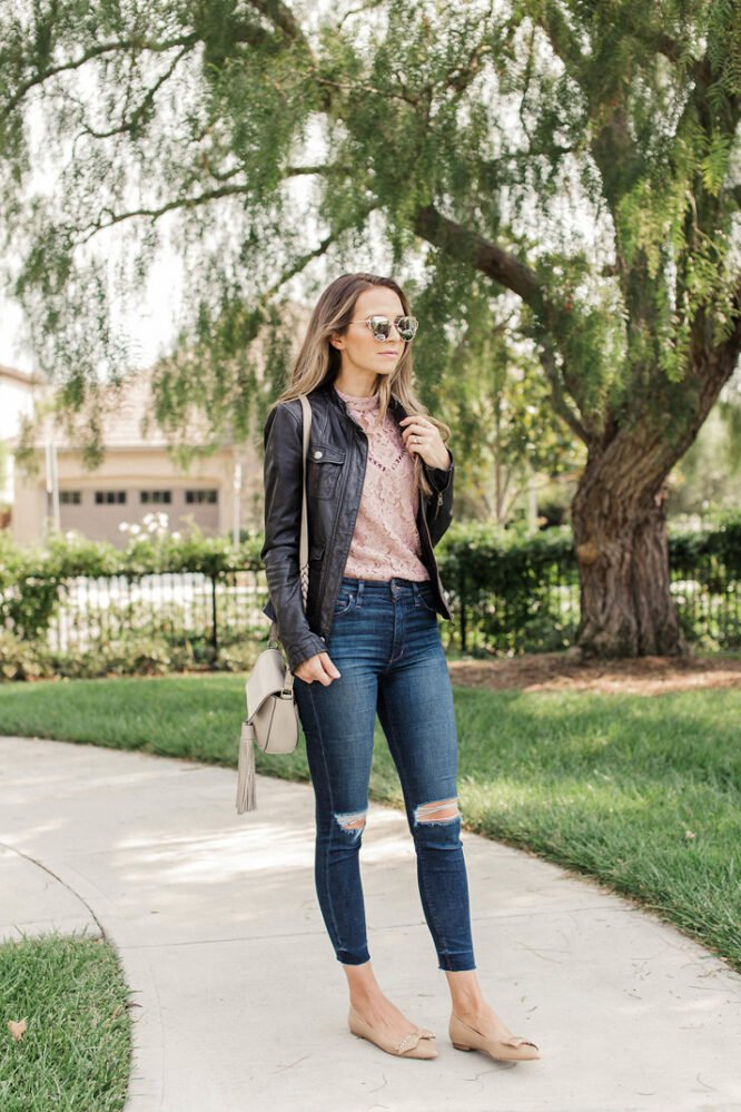how to wear a leather jacket in the fall - lace top and distressed jeans