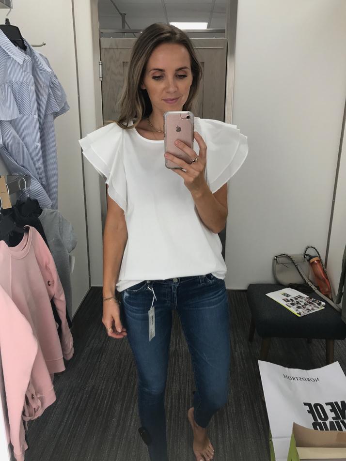 merricksart.com ruffle sleeve top white