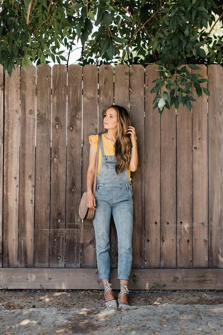 merricksart.com | overalls and yellow ruffle sleeve top