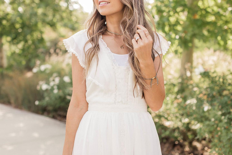 ruffled neckline maxi dress | merricksart.com
