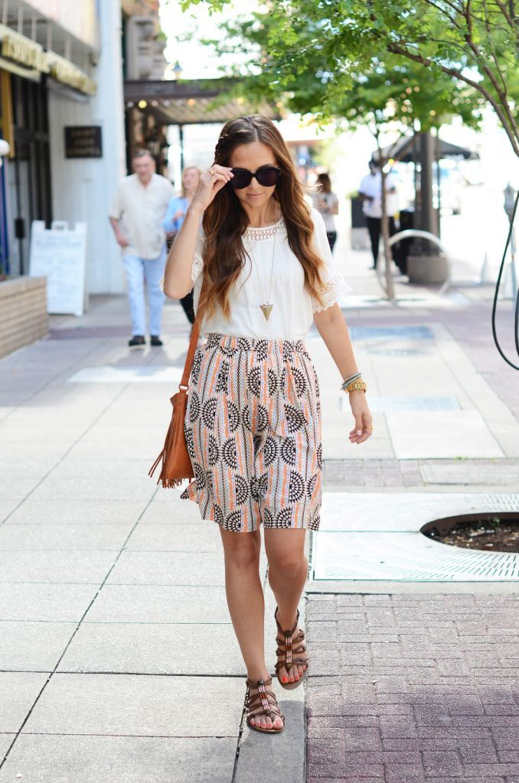 merricksart.com | patterned skirt and white top
