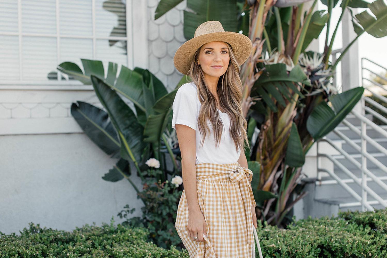 merricksart.com | yellow gingham skirt and white top