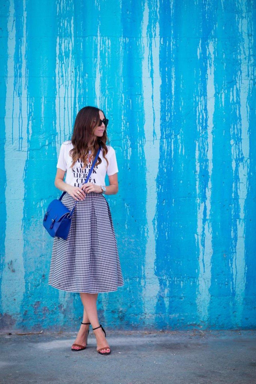 merricksart.com | blue gingham skirt and graphic tee