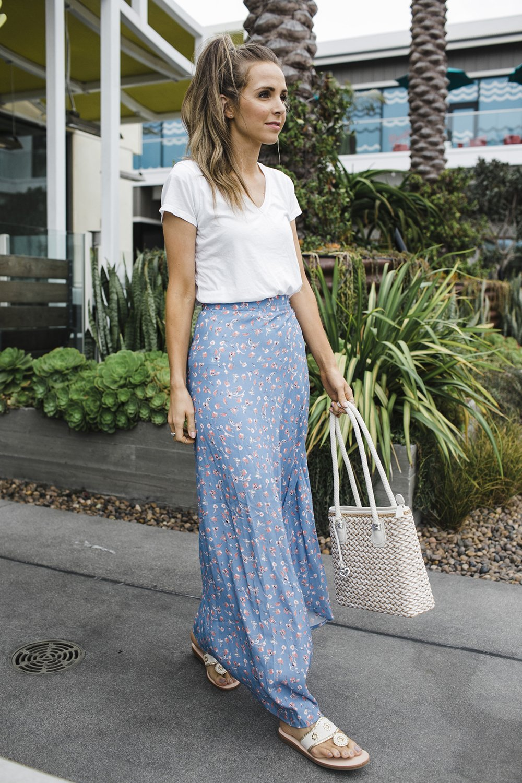 merricksart.com | maxi skirt and white top