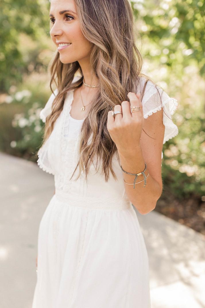 white fit and flare midi dress | merricksart.com