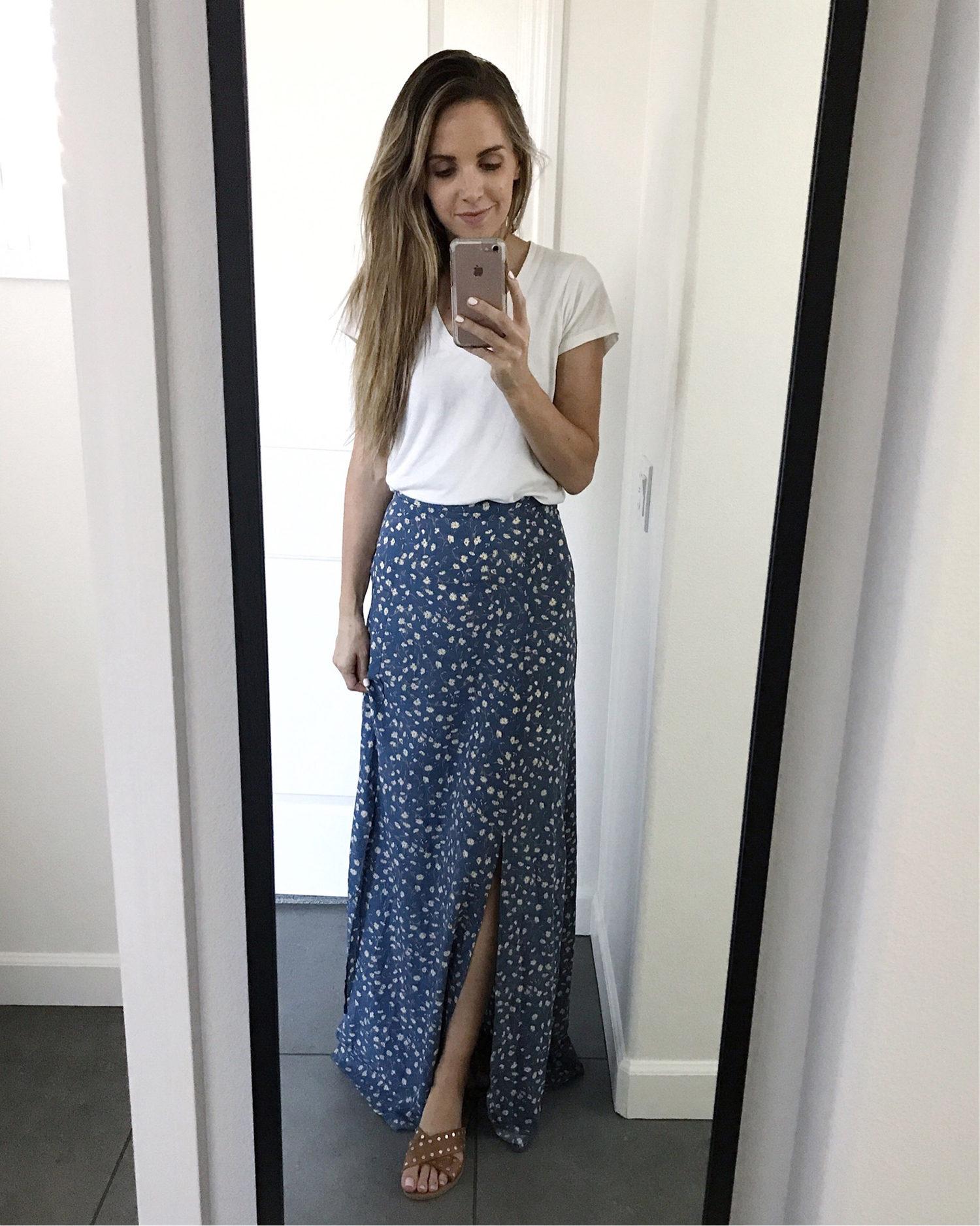 maxi skirt and white t-shirt | merricksart.com