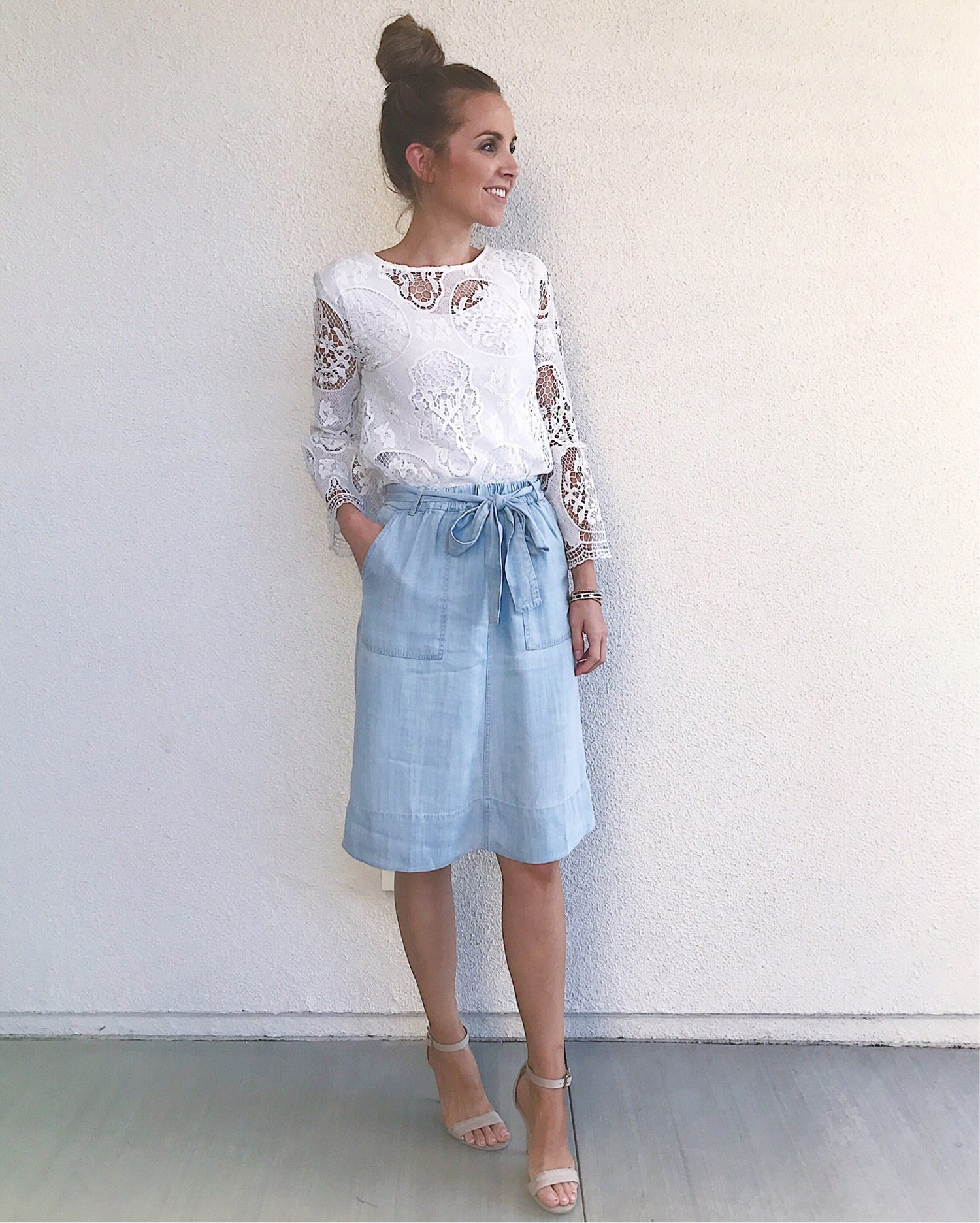 lace top and chambray skirt | merricksart.com