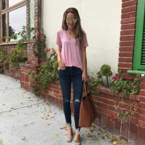 merricksart.com | pink cutout v neck tee